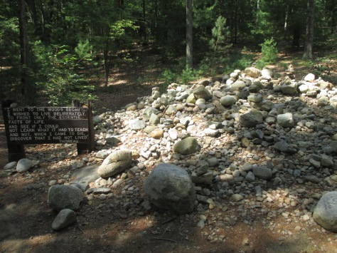 Stones and tributes at the site of Thoreau's original cabin. Walden Pond, Concord MA.